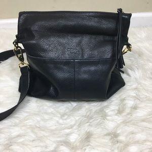 Anthropologie Margot Black Leather Crossbody Bag